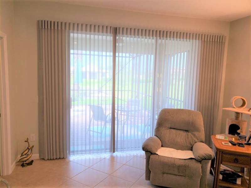 Hunter Douglas Luminette window treatment on sliding door