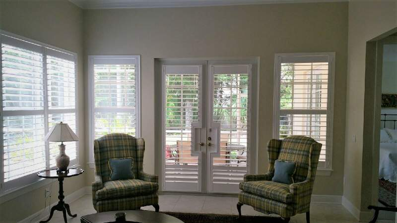Norman french door shutters and matching window shutters