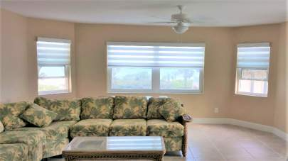 Hunter Douglas Banded Shades in Living Room Windows