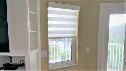 Hunter Douglas Banded Shade in small window