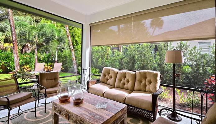rollershades in a patio
